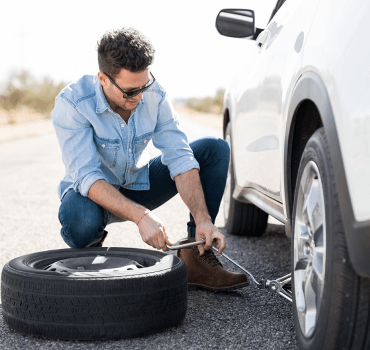 Man changing tyre