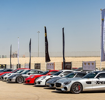 Line of parked supercars